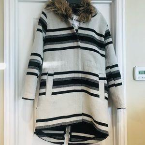 Like New Small BB Dakota Striped Pea Coat